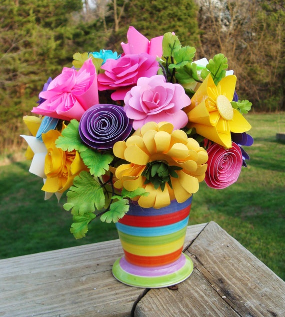 paper flower arrangement ideas - Goal.blockety.co