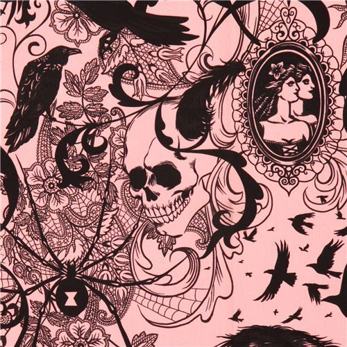 pink raven spider skull fabric by Alexander Henry USA