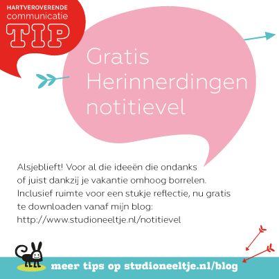 #Gratis notitievel voor ZZP gedachtes tijdens je vakantie. #StudioNeeltje #HartveroverendeCommunicatietip