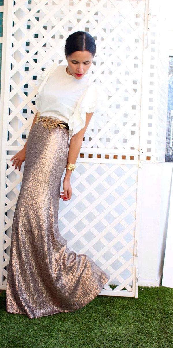 Falda recta y detalle en cintura. Vestidos de fiesta para bodas de otoño modernos de dos piezas