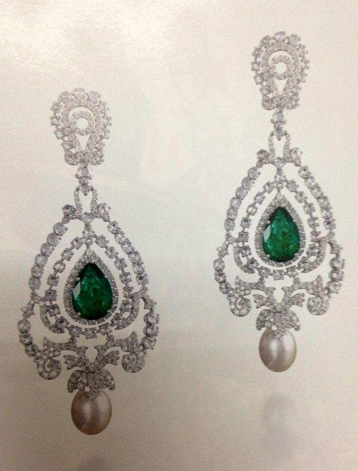 #diamond #emerald earrings Farah Khan