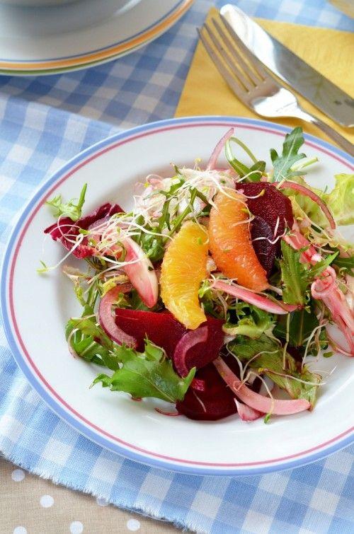 Édesköményes-céklás-narancsos saláta