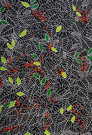 Vuurdoorn Deze linosnede is één uit een serie van 4, gemaakt voor de Internationale Biënnale voor Grafische Kunsten te Brugge (B). Er is applicatie toegevoegd (vilt) en wollen borduur garens. Anneke Dekkers