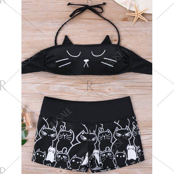 Wholesale Plus Size Monochrome Cat Bikini Set 3xl Black Online. Cheap Plus Size Shorts And Plus Size Romper on Rosewholesale.com