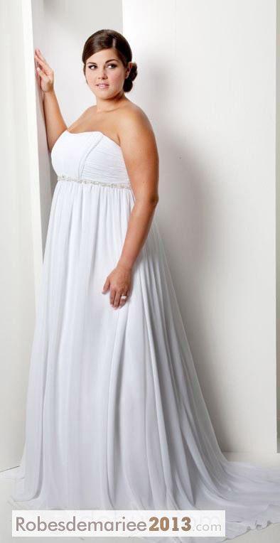 Junon Empire bretelles tribunal Floor-Length Taille Plus robe de mariée