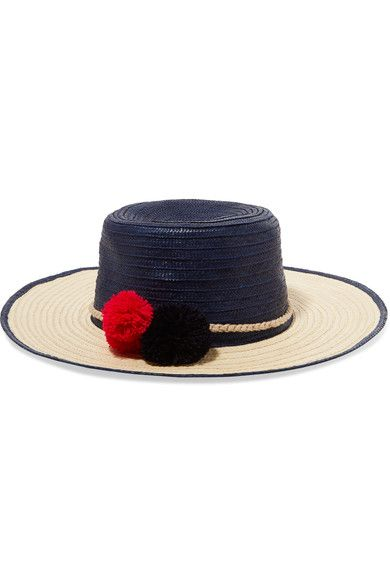 Sophie Anderson - Laila Pompom-embellished Toquilla Straw Hat - Navy - M