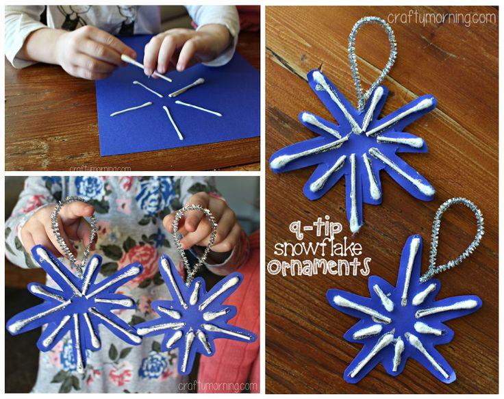 Q-Tip Snowflake Ornament, #knutselen, kinderen, basisschool, Kerstmis, kerstster van papier en wattenstaafjes, decoratie
