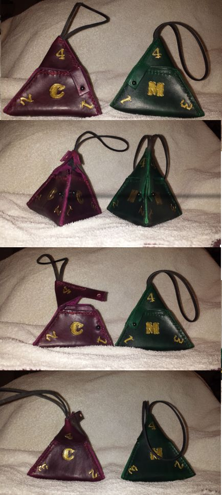 Leather d4 dice bags, created pattern and made bags, stamping and painting are a bit uneven but not bad for a first attempt