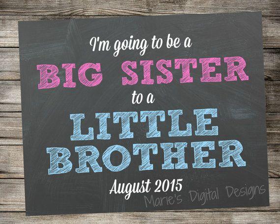 Gender Reveal Chalkboard - Big Sister to a Little Brother Photo Prop - Printable Sign - Digital Download