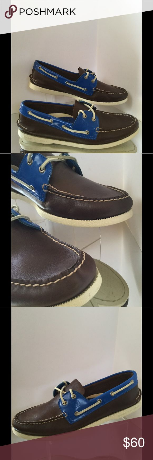 Sperry Topsiders Mens Brown/Blue  Leather size 13 New in box Sperry Topsider Brown and blue leather size 13 shoe. More details in last picture in roll. Sperry Top-Sider Shoes Boat Shoes
