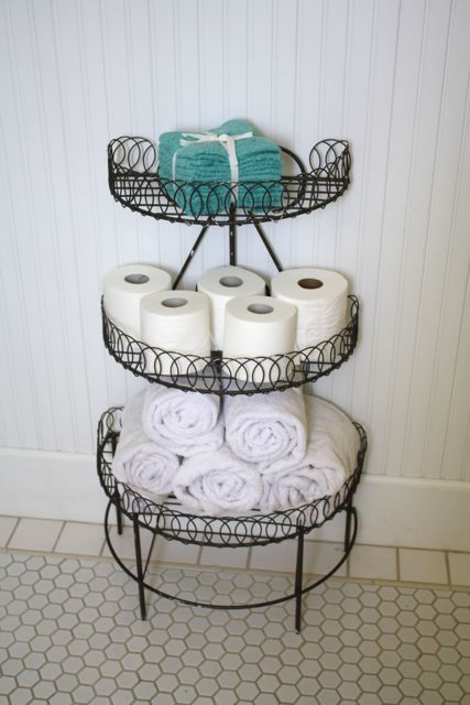 plant storage in the bathroom for towels, tp, etc. I wish I would have known about this during my apartment days