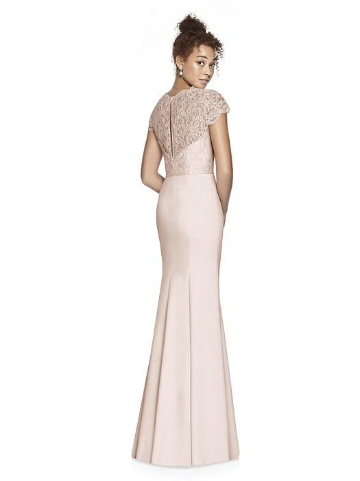 b6b850360223 Dessy Bridesmaid Style 3023 in blush.Full length dress w/ cap sleeve  marquis lace bodice. V-neckline w/ scallop edge and sheer back. Crepe  trumpet skirt.