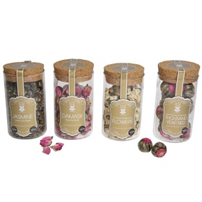 Choi Time tea flowers; including Jasmine green tea pearls, Damask rose buds (great for relieving stress), Chrysanthemum flowers (detox), giant 1000 Year Red Flowering Tea Bulbs (great for the circulation) and white silver needles (aids digestion).