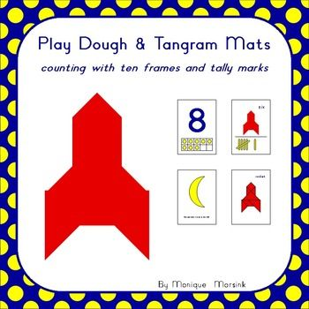Rocket - Counting Math Mats (1-10): Can you make stars in the sky?  Kids love to play with play dough (play doh) and tangrams puzzles. So why not combine the two and make math mats that can be used for more than just one type of activity.  Also included: Clip Cards (1-20)