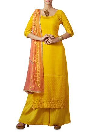 Buy Apple Mango Yellow Embroidered Semistitched Suit Set Online, , LimeRoad