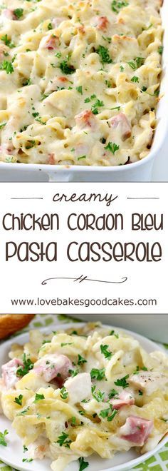 Creamy Chicken Cordon Bleu Pasta Casserole ~ filled with pasta, chicken, ham, a creamy sauce, and melted Swiss cheese, this easy casserole will be your new family favorite!