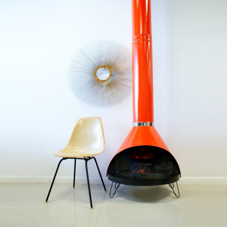 Awesome Mid Century Fireplace Orange