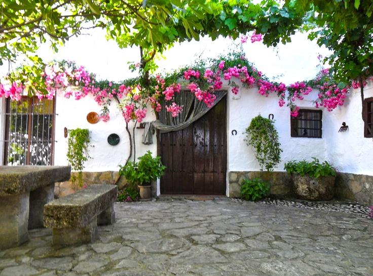 casa rural la gineta gran patio interior con mesa de piedra barbacoa y jardn