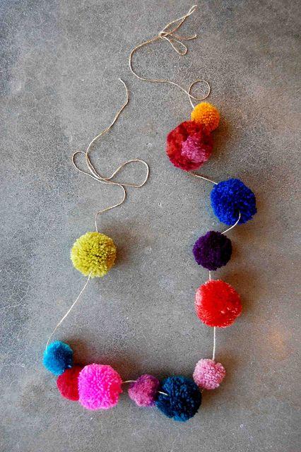 Pom Pom Necklace DIY