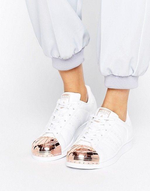 Adidas Originals White Superstar Sneakers with Rose Gold Metal Toe Cap