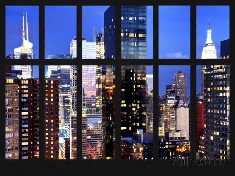 Window View - Cityscape of Times Square at Nightfall - Midtown Manhattan - NYC - New York City Photographic Print by Philippe Hugonnard at AllPosters.com