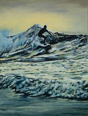 "Saatchi Online Artist Jan Zajac; Painting, ""Dawn Surfer"" #art"