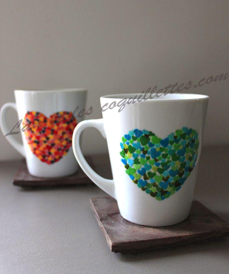 peinture sur porcelaine : avec pochoir coeur