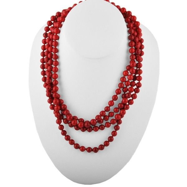 Great Lengths Stone Necklace- Red Magnesite BARSE Jewelry