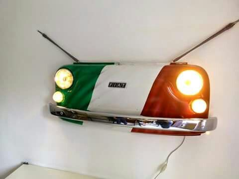 Lamp made from the front of Fiat 500 by Giovanna Caggese Interior design