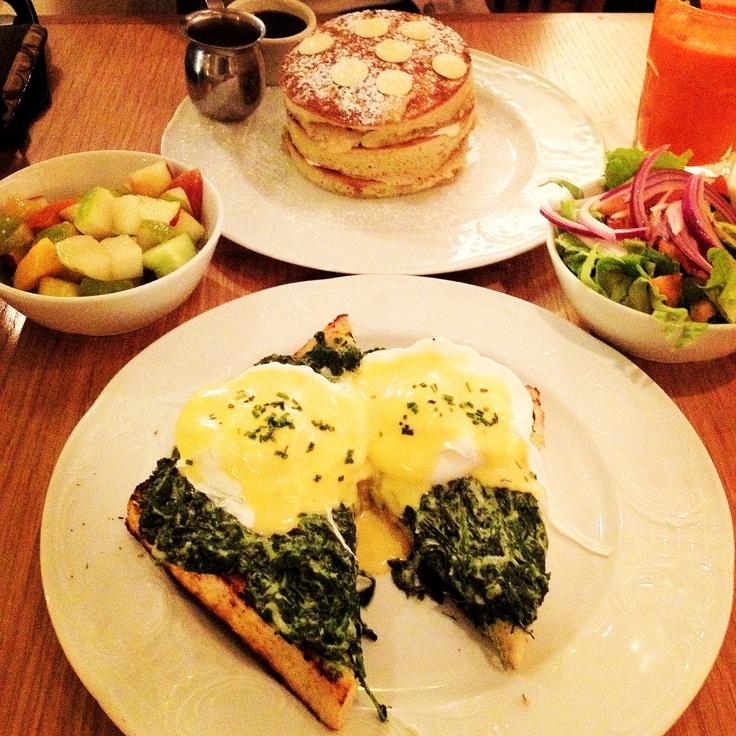 White chocolate mocha pancakes and eggs florentine at Benedict restaurant in Tel Aviv