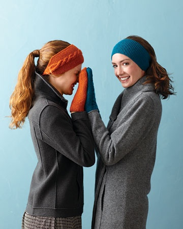 Headbands.  Seems like they are making a comeback.  Pattern instructions for the cabled and garter stitch bands.