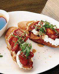 Honey-Tomato Bruschetta with Ricotta Recipe on Food & Wine