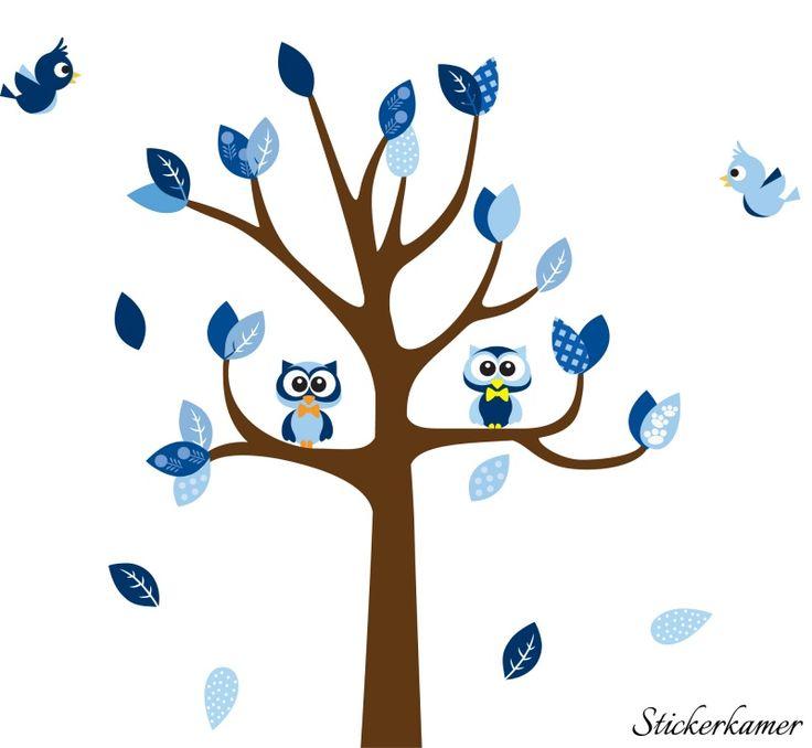 Muursticker Boom met uilen en vogels