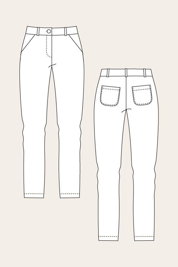 Alpi Chinos The pattern includes two versions; Classic straight-cut chinos, and trendy chino shorts Both versions are low-waiste...