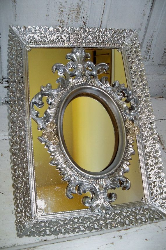 Wall Decor With Rhinestone : Vintage silver mirror frame set french provincial ornate