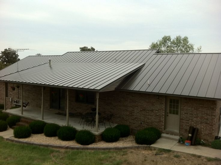37 best images about stone house metal roof on pinterest for Metal roof pictures brick house