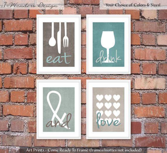 modern kitchen art prints eat drink and love by 7wondersdesign - Kitchen Art