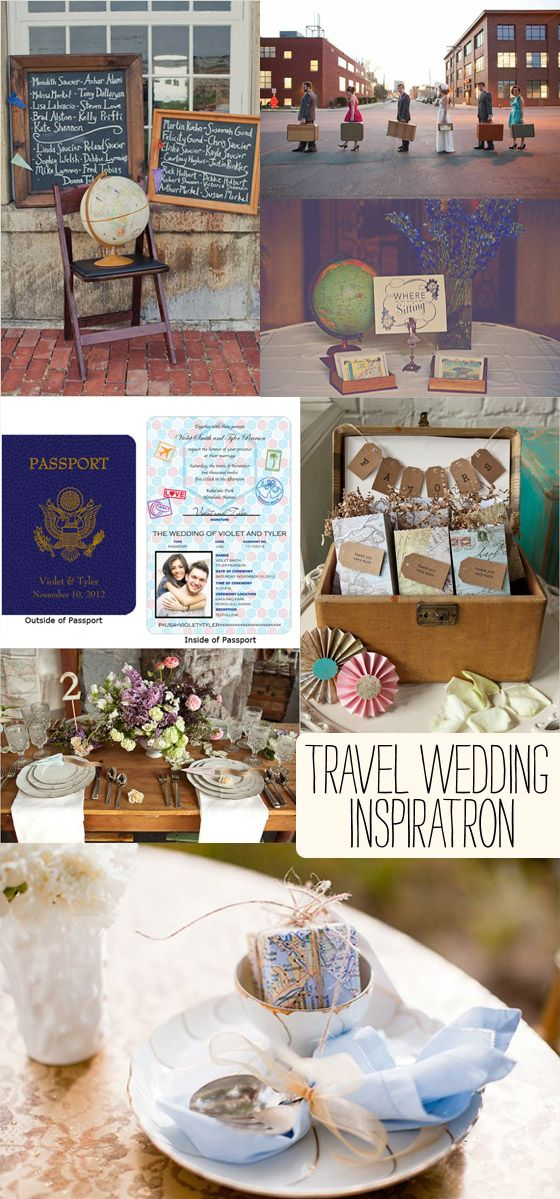 travel wedding theme inspiration, not sure if I will need this but it is awesome; I like the small gift wrapped in a map idea