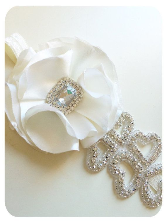 Baby Girl Headband White Headband Diamond by AllureDesignsAU