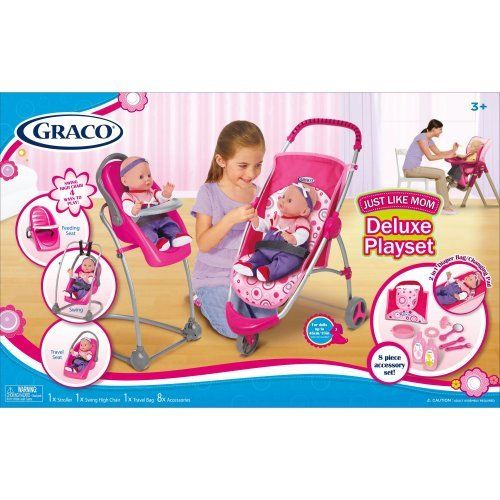 Graco 11 Pcs Just Like Mom Deluxe Playset Stroller Swing