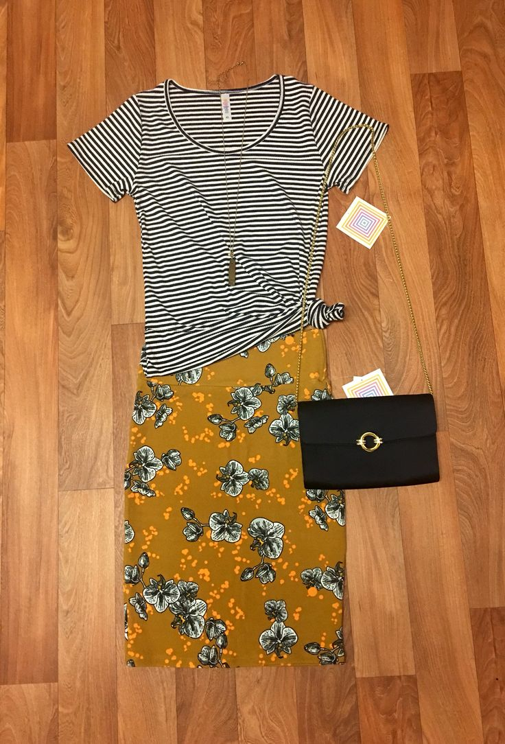 Outfit for sale in my shopping group - XS floral Cassie & XS navy & white striped ribbed Classic T https://www.facebook.com/groups/lularoejilldomme/