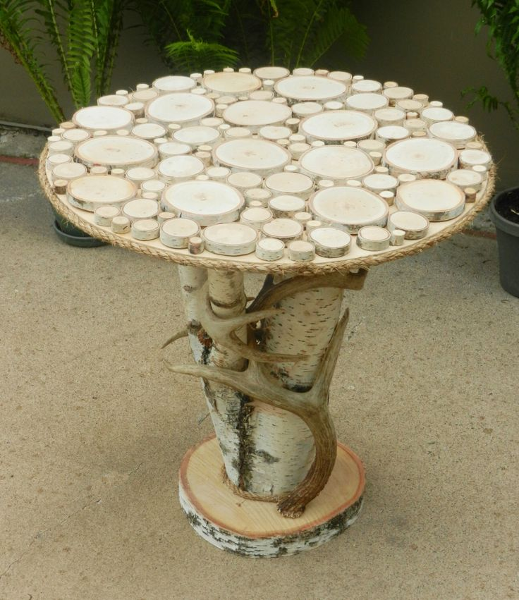 Rustic Birch End Table with Real Whitetail Deer Antlers - Reclaimed Wood Furniture, Accent Side Table, Rustic Table by TheCreativeQ on Etsy https://www.etsy.com/listing/195193440/rustic-birch-end-table-with-real