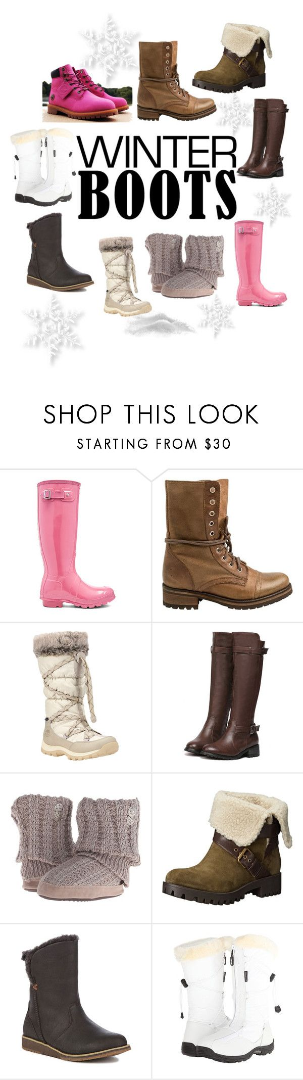 """Winter Boots"" by poppys-crafts ❤ liked on Polyvore featuring Timberland, Hunter, Steve Madden, Muk Luks, Nine West, Emu, Baffin and winterboots"
