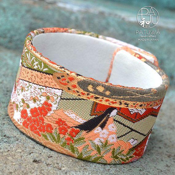 Japanese kimono large cuff bracelet. Genuine leather by PATUWA