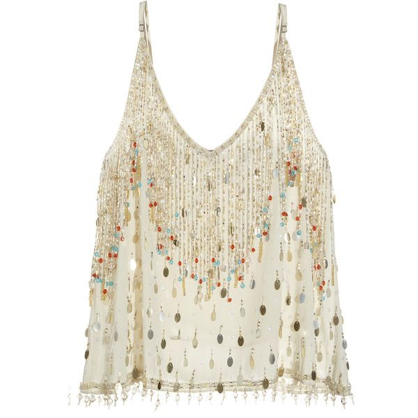 CALYPSO St. Barth Marseilles Embellished Silk Tank featuring polyvore, fashion, clothing, tops, shirts, tanks, tank tops, pearl cc, white silk shirt, sequin tank top, white sequin shirt, white sequin tank top and beaded fringe shirt