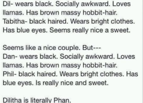 Dilitha IS Phan.<<< is this telling us something>>>and they literally are engaged so...???