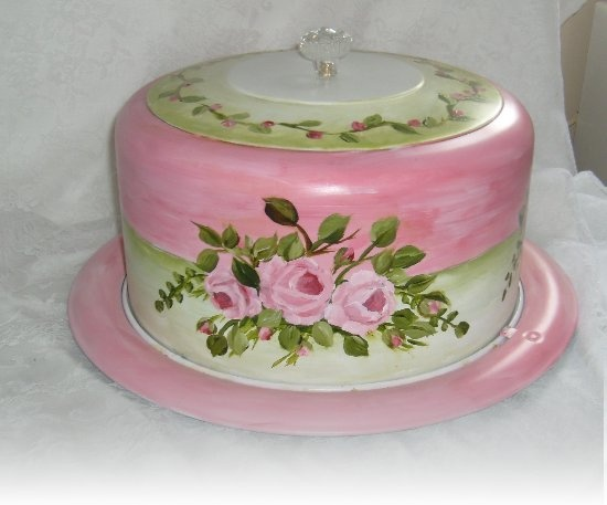 "Vintage hand painted cake carrier. ""Repinned by Keva xo""."