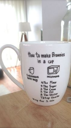 Brownie in a Cup ~ Wipe the outside of the cup with rubbing alcohol. Use an oil based Sharpie paint marker, then write the instructions onto the cup. Let the Sharpie dry completely for 24 hours. Place your cup in a cold oven, then bake at 450 degrees for 30 minutes. Crack your oven door and let the cup cool down with the oven to prevent cracking. This would be great as a gift, add the dry ingredients and wrap.