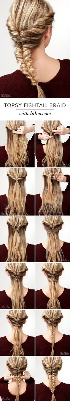 Topsy Fishtail Braid Tutorial fancy hairstyles braided hair hairstyle ideas