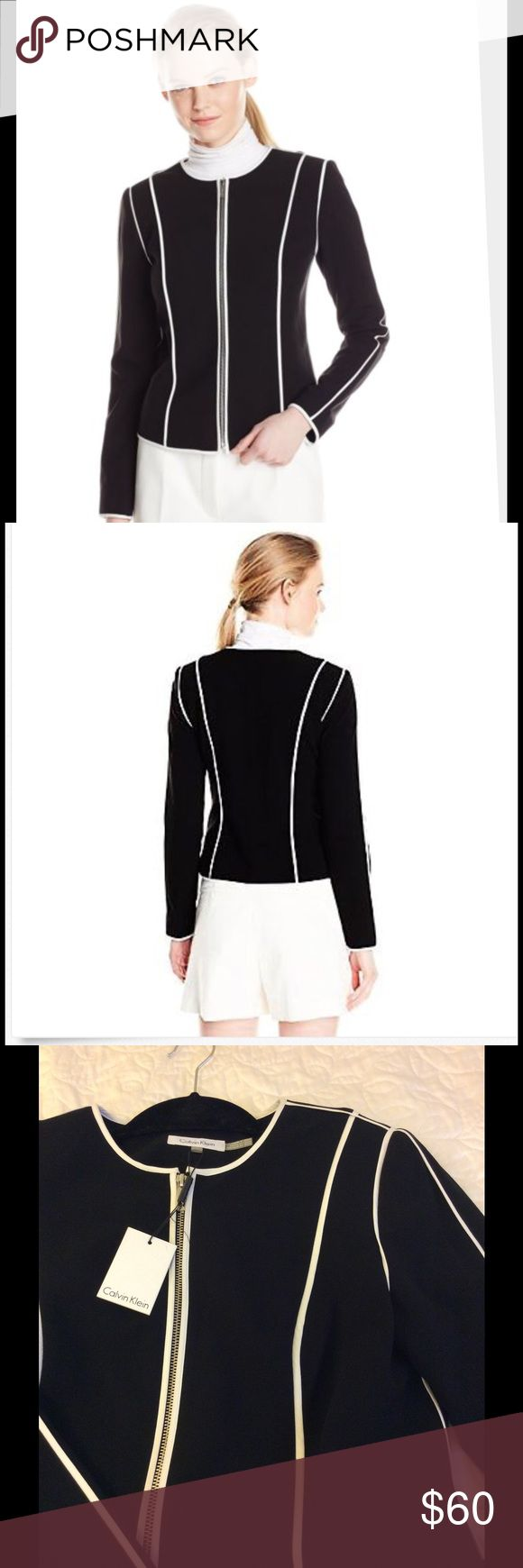 Calvin Klein Women's Zip Up Jacket with White trim New with tags. Never worn. Black and white Jacket. This is currently $129 at Macy's Calvin Klein Jackets & Coats Blazers